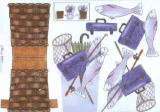 Fishing Basket Stand Up 3d Decoupage Sheet